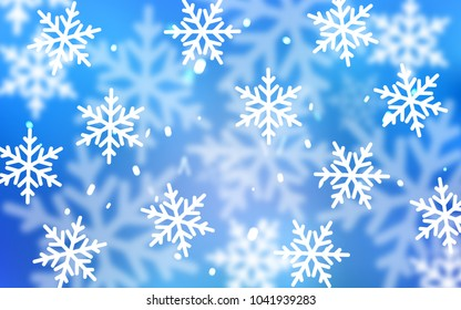 Light BLUE vector cover with beautiful snowflakes. Glitter abstract illustration with crystals of ice. New year design for your business advert.