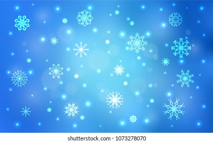 Light BLUE vector cover with beautiful snowflakes. Decorative shining illustration with snow on abstract template. New year design for your business advert.