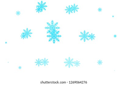 Light BLUE vector cover with beautiful snowflakes. Shining colored illustration with snow in christmas style. The pattern can be used for new year ad, booklets.