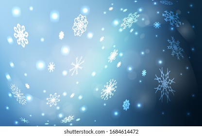 Light BLUE vector cover with beautiful snowflakes. Decorative shining illustration with snow on abstract template. The pattern can be used for new year leaflets.