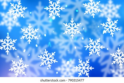 Light BLUE vector cover with beautiful snowflakes. Snow on blurred abstract background with gradient. The pattern can be used for new year ad, booklets.