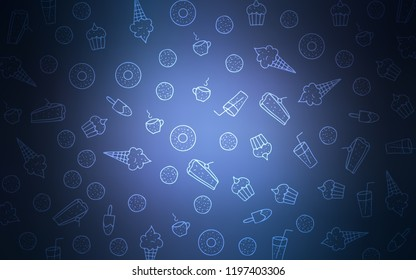 Light BLUE vector cover with set of confections. Confections on blurred abstract background with colorful gradient. Pattern for ad, booklets, leaflets of restaurants.