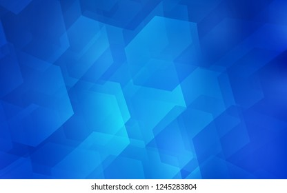 Light BLUE vector cover with set of hexagons. Abstract illustration with colorful hexagons. New template for your brand book.