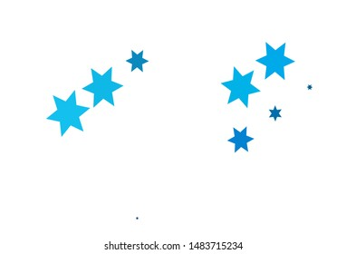 Light BLUE vector cover with small and big stars. Decorative shining illustration with stars on abstract template. The pattern can be used for new year ad, booklets.