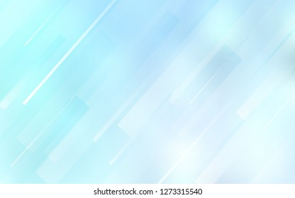 Light BLUE vector cover with stright stripes. Glitter abstract illustration with colored sticks. Template for your beautiful backgrounds.