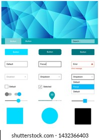 Light BLUE vector design ui kit with mosaic. Decorative ui kit design in abstract style with colorful crystals. Beautiful layout for websites, landing pages.