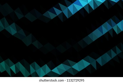 Light BLUE vector hexagon mosaic template. Creative geometric illustration in Origami style with gradient. The textured pattern can be used for background.
