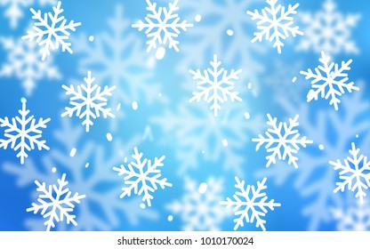 Light BLUE vector layout with bright snowflakes. Decorative shining illustration with snow on abstract template. The pattern can be used for year new  websites.