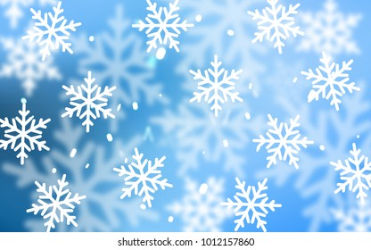 Light BLUE vector layout with bright snowflakes. Modern geometrical abstract illustration with crystals of ice. The template can be used as a new year background.