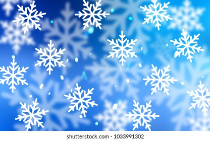 Light BLUE vector layout with bright snowflakes. Snow on blurred abstract background with gradient. New year design for your ad, poster, banner.