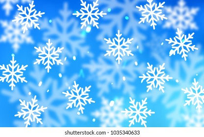 Light BLUE vector layout with bright snowflakes. Modern geometrical abstract illustration with crystals of ice. New year design for your business advert.
