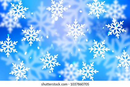 Light BLUE vector layout with bright snowflakes. Snow on blurred abstract background with gradient. The pattern can be used for year new  websites.