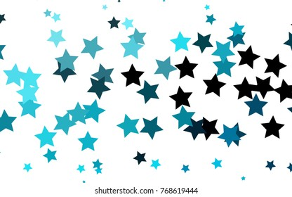Light BLUE vector layout with bright stars. Modern geometrical abstract illustration with stars. The pattern can be used for wrapping gifts.