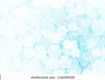 Light BLUE vector low poly pattern. Shining illustration, which consist of hexagons. The best hexagonal design for your business.