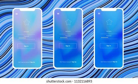 Light BLUE vector Material Design Kit with iphone. Elegant bright illustration of iphone X with gradient. This template you can use for websites.