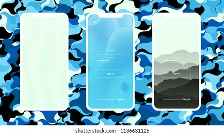 Light BLUE vector Material Design Kit with cellphone. Shining example of cell phones gradient. Beautiful layout for cellphones and apps.