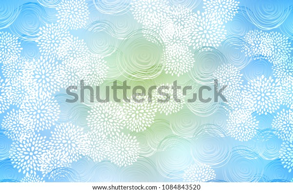 Light BLUE vector natural elegant template. Creative illustration in blurred style with flowers. The pattern can be used for coloring books and pages for kids.