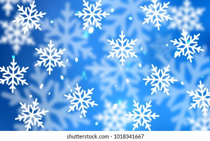 Light BLUE vector pattern with christmas snowflakes. Shining colored illustration with snow in christmas style. New year design for your ad, poster, banner.
