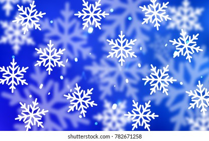 Light BLUE vector pattern with christmas snowflakes. Glitter abstract illustration with crystals of ice. New year design for your ad, poster, banner.