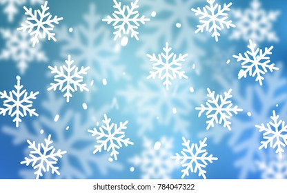 Light BLUE vector pattern with christmas snowflakes. Modern geometrical abstract illustration with crystals of ice. New year design for your business advert.