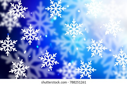 Light BLUE vector pattern with christmas snowflakes. Blurred decorative design in xmas style with snow. New year design for your business advert.