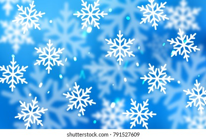 Light BLUE vector pattern with christmas snowflakes. Blurred decorative design in xmas style with snow. New year design for your ad, poster, banner.