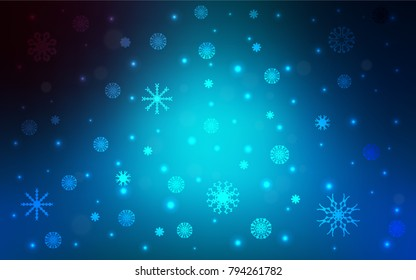 Light BLUE vector pattern with christmas snowflakes. Glitter abstract illustration with crystals of ice. The pattern can be used for new year ad, booklets.