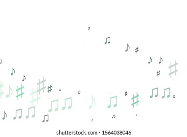 Light BLUE vector pattern with music elements. Decorative design in abstract style with music shapes. Pattern for school ad, booklets.