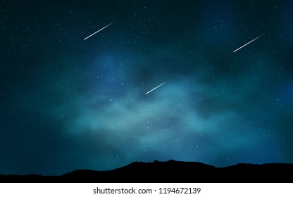 Light BLUE vector pattern with night sky stars. Blurred decorative design in simple style with galaxy stars. Template for cosmic backgrounds.