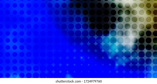 Light BLUE vector pattern with spheres. Illustration with set of shining colorful abstract spheres. New template for a brand book.