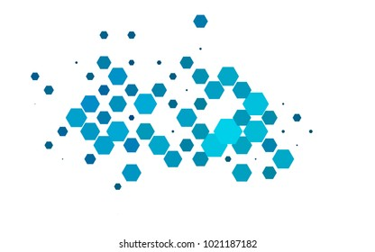 Light BLUE vector polygonal illustration, which consist of hexagons. Hexagonal pattern for your business design. Geometric background in Origami style with gradient.