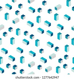 Light BLUE vector seamless, isometric template with rhombus. Beautiful illustration with rectangles and squares. Design for textile, fabric, wallpapers.