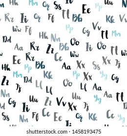 Light BLUE vector seamless pattern with ABC symbols. Shining colorful illustration with isolated letters. Template for business cards, websites.