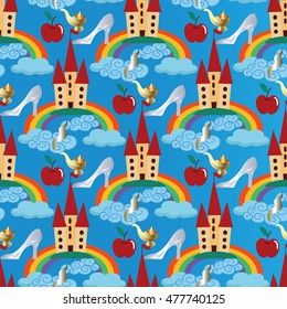 Light blue vector seamless pattern background wallpaper illustration with fairytale castle, colorful rainbow, blue clouds, princess crystal shoe, red magic apple, gold aladdin lamp.Disney world.