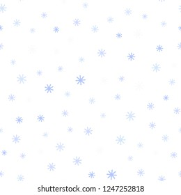 Light BLUE vector seamless texture with colored snowflakes. Colorful decorative design in xmas style with snow. Pattern for trendy fabric, wallpapers.