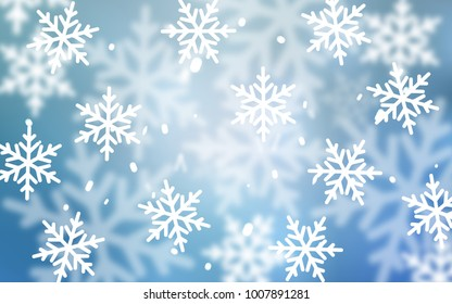 Light BLUE vector template with ice snowflakes. Shining colored illustration with snow in christmas style. New year design for your ad, poster, banner.