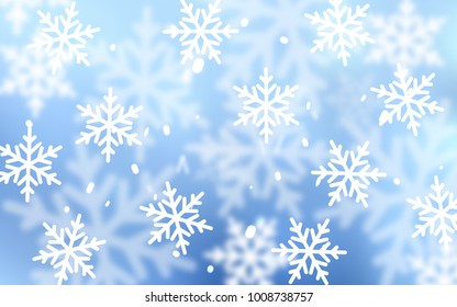 Light BLUE vector template with ice snowflakes. Glitter abstract illustration with crystals of ice. New year design for your business advert.