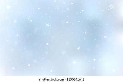 Light BLUE vector template with ice snowflakes. Decorative shining illustration with snow on abstract template. The template can be used as a new year background.