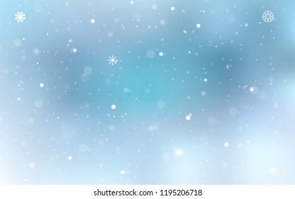 Light BLUE vector template with ice snowflakes. Shining colored illustration with snow in christmas style. The template can be used as a new year background.