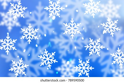 Light BLUE vector template with ice snowflakes. Blurred decorative design in xmas style with snow. The pattern can be used for new year ad, booklets.