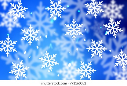 Light BLUE vector template with ice snowflakes. Snow on blurred abstract background with gradient. New year design for your business advert.