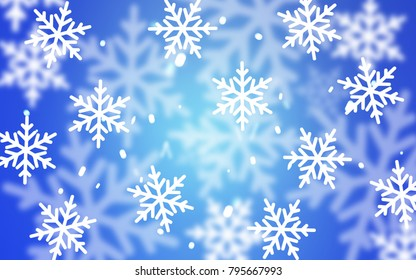Light BLUE vector template with ice snowflakes. Glitter abstract illustration with crystals of ice. The pattern can be used for year new  websites.