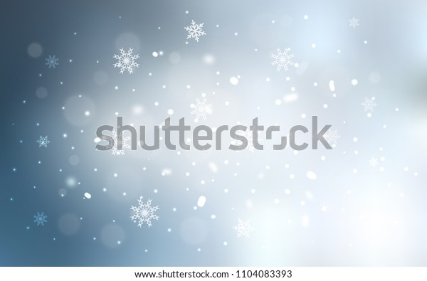 Light BLUE vector template with ice snowflakes. Decorative shining illustration with snow on abstract template. The pattern can be used for new year leaflets.