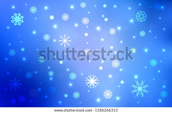 Light BLUE vector template with ice snowflakes. Glitter abstract illustration with crystals of ice. The pattern can be used for new year ad, booklets.