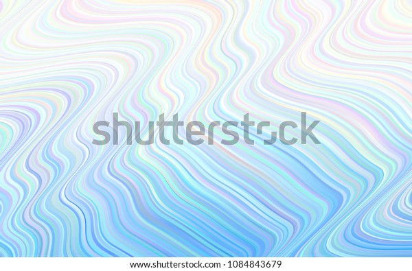 Light BLUE vector template with lines, ovals. Creative illustration in halftone marble style with gradient. The best blurred design for your business.