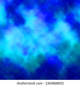 Light BLUE vector template with neon stars. Decorative illustration with stars on abstract template. Design for your business promotion.