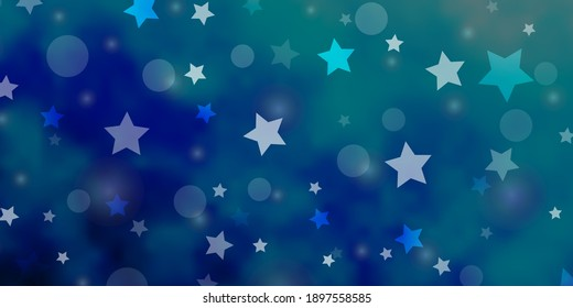 Light BLUE vector texture with circles, stars. Glitter abstract illustration with colorful drops, stars. Texture for window blinds, curtains.
