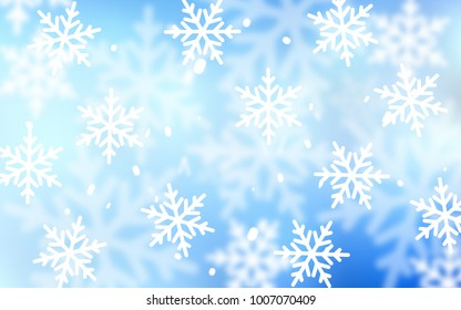 Light BLUE vector texture with colored snowflakes. Glitter abstract illustration with crystals of ice. The pattern can be used for new year leaflets.
