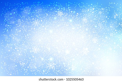 Light BLUE vector texture with colored snowflakes. Decorative shining illustration with snow on abstract template. The pattern can be used for year new  websites.