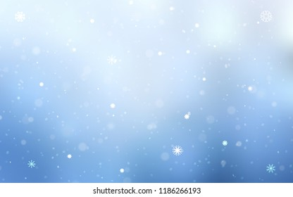 Light BLUE vector texture with colored snowflakes. Decorative shining illustration with snow on abstract template. The pattern can be used for new year ad, booklets.